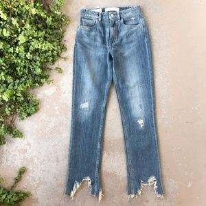 IRO Straight Leg High Rise Frayed Destroyed Jeans